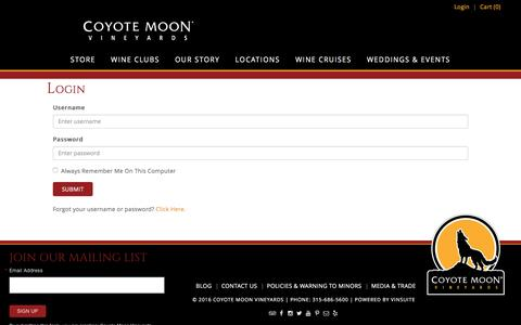 Screenshot of Login Page coyotemoonvineyards.com - Coyote Moon Vineyards - Login - captured July 16, 2016