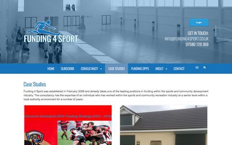 Screenshot of Case Studies Page funding4sport.co.uk - Case Studies - Funding 4 Sport - captured June 6, 2017