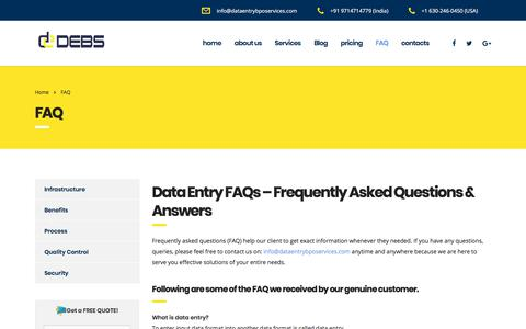 Screenshot of FAQ Page dataentrybposervices.com - Data Entry FAQs - Frequently Asked Questions - captured Sept. 24, 2018