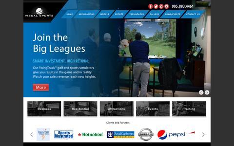 Screenshot of Home Page visualsportssys.com - Visual Sports Systems |  Golf Simulators | Multi-Sport Simulators - HOME - captured Sept. 4, 2015