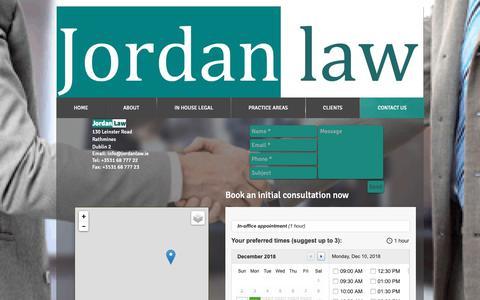 Screenshot of Contact Page jordanlaw.ie - Contact Jordan Law - captured Dec. 10, 2018