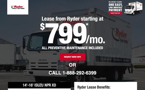 Screenshot of Landing Page ryder.com - LIMITED TIME OFFER - $799 Per Month Lease - captured Nov. 18, 2016