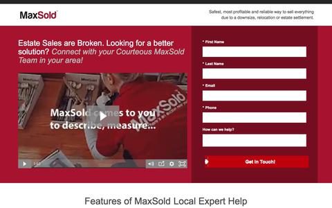 Screenshot of Landing Page maxsold.com - Estate Sales - MaxSold - Get Started - captured Sept. 16, 2017