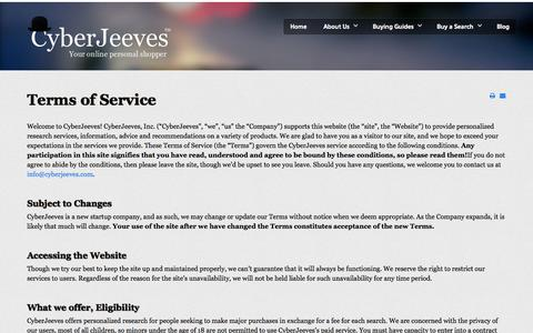 Screenshot of Terms Page cyberjeeves.com - CyberJeeves - captured Oct. 3, 2014