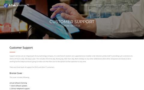 Screenshot of Support Page e-tekltd.com - E-tek Solutions - captured Sept. 25, 2018
