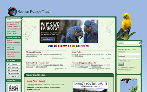 Screenshot of Home Page parrots.org - World Parrot Trust - Saving Parrots Worldwide - captured July 11, 2014