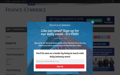 Screenshot of Contact Page finance-commerce.com - Contact Us – Finance & Commerce - captured Jan. 28, 2018
