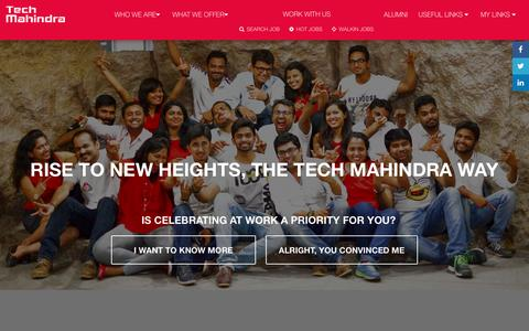 Screenshot of Jobs Page techmahindra.com - Tech Mahindra Job Portal - captured May 21, 2016