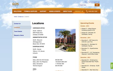 Screenshot of Locations Page glds.com - Locations   GLDS - Great Lakes Data Systems - captured Oct. 10, 2014