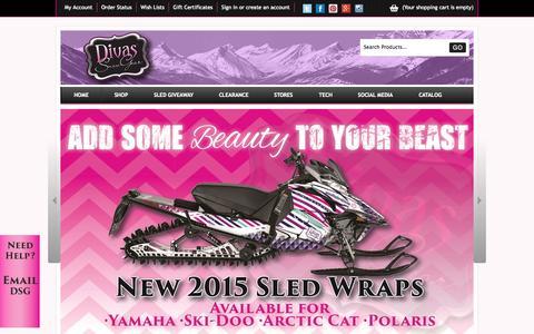 Screenshot of Home Page divassnowgear.com - Women's snowmobile coats, jackets, apparel, gear, accessories. - captured Jan. 28, 2015