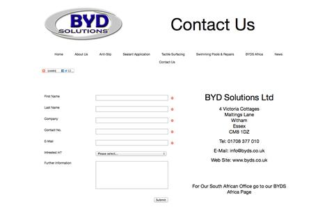 Screenshot of Contact Page byds.co.uk - Contact Us - captured Oct. 5, 2014
