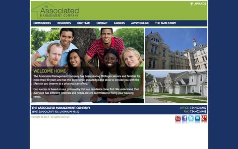 Screenshot of Home Page associated-management.com - The Associated Management Company | Luxury Living at Affordable Prices Michigan - captured Jan. 26, 2015