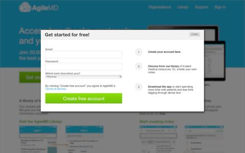 Screenshot of Signup Page agilemd.com - Join for free | AgileMD - captured Sept. 12, 2014