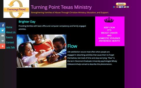 Screenshot of Home Page turningpointtexas.org - Home - captured Oct. 7, 2014