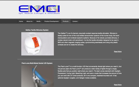Screenshot of Products Page emci.co - Products | Epic Medical Concepts & Innovations - captured Oct. 2, 2014