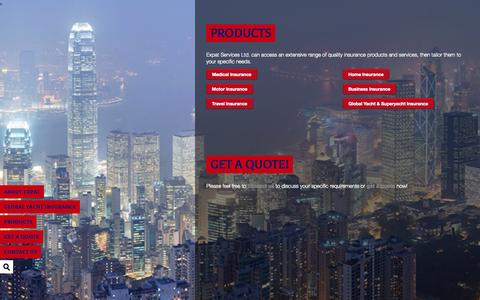 Screenshot of Products Page expathk.com - Expat Services Ltd.: Insurance ,  PRODUCTS - captured Oct. 3, 2014