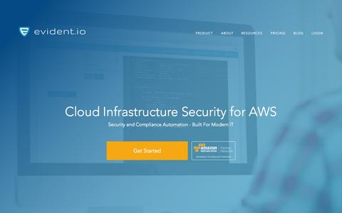 Screenshot of Home Page evident.io - Cloud Infrastructure Security for AWS - captured Sept. 20, 2015