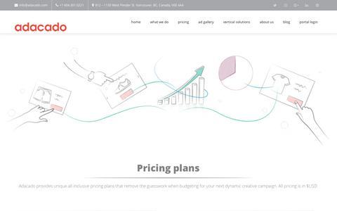 Screenshot of Pricing Page adacado.com - Pricing - Adacado - captured Oct. 4, 2018