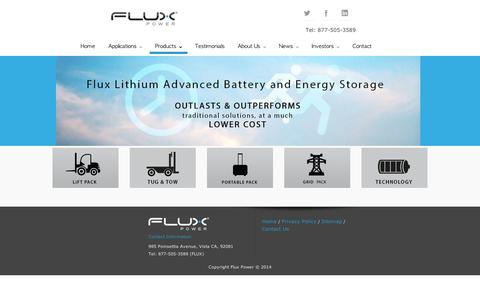 Screenshot of Products Page fluxpwr.com - Products | Flux Power - captured Sept. 10, 2014