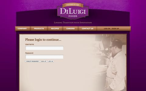Screenshot of Login Page diluigifoods.com - DiLuigi Foods | Log In - captured Sept. 30, 2014