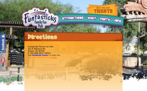 Screenshot of Maps & Directions Page funtasticks.com - Funtasticks Family Fun Park in Tucson, AZ | Directions - captured Oct. 6, 2014