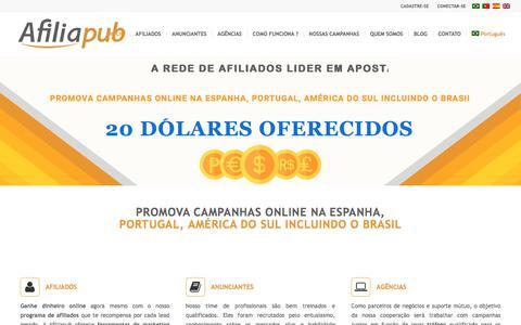 Screenshot of Home Page afiliapub.com - INÍCIO - Afiliapub a melhor Rede de Afiliados do Brasil - captured July 29, 2018