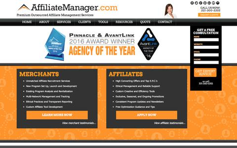 Screenshot of Home Page affiliatemanager.com - Affiliate Manager | Affiliate Program Management Company - captured June 29, 2017