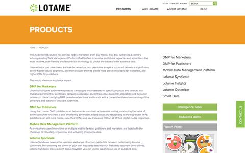 Screenshot of Products Page lotame.com - Data Management Platform, Audience Management, Data Driven Marketing | Lotame Solutions Inc - captured Nov. 2, 2014