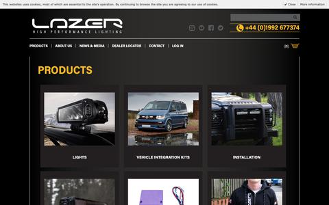 Screenshot of Products Page lazerlamps.com - Lazer Lamps - Products - High Performance LED Lighting & Accessories - captured Sept. 27, 2018