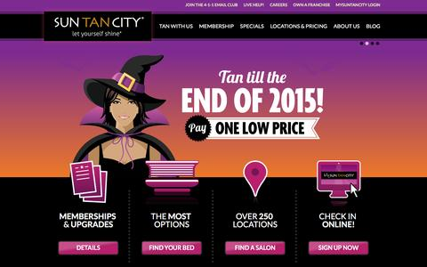 Screenshot of Home Page suntancity.com - Sun Tan City - Tanning Salons Near Work and Home - captured Oct. 18, 2015