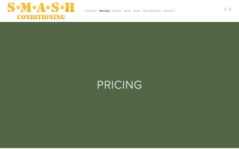 Screenshot of Pricing Page smashconditioning.com - PRICING — S*M*A*S*H CONDITIONING - captured Nov. 5, 2018