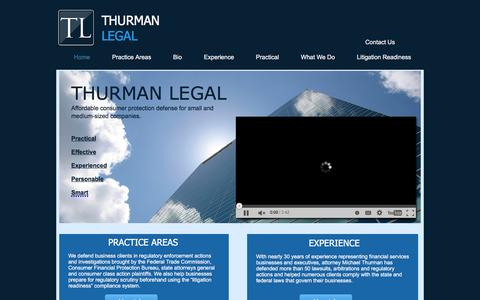 Screenshot of Home Page thurman-legal.com - Thurman Legal - Southern California - Consumer Defense Attorney - captured Feb. 29, 2016