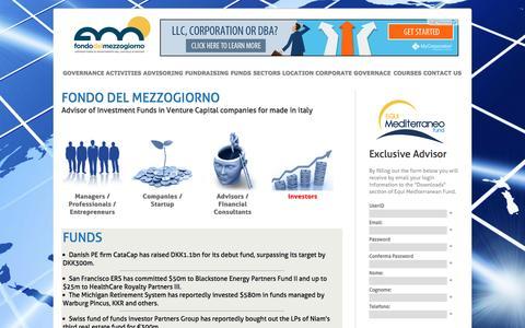 Screenshot of Home Page fondodelmezzogiorno.com - Fondo del Mezzogiorno - Advisor of Investment Funds in Venture Capital companies for made in italy - captured March 5, 2016