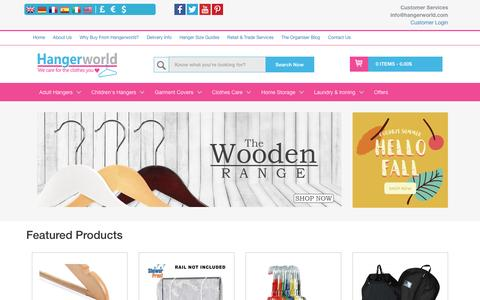 Screenshot of Home Page hangerworld.co.uk - Hangerworld - Suppliers of a extensive range of Clothes hangers and other Clothes Care products                 Hangerworld - captured Oct. 23, 2016