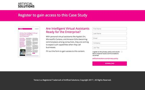 Screenshot of Landing Page artificial-solutions.com - Are Intelligent Virtual Assistants Ready for the Enterprise? - captured April 21, 2018