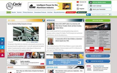 Screenshot of Home Page alcircle.com - A Virtual Aluminium Ecosystem: Find aluminium news, events, aluminium blog, interview, business leads, directory and aluminium price - captured Sept. 23, 2018