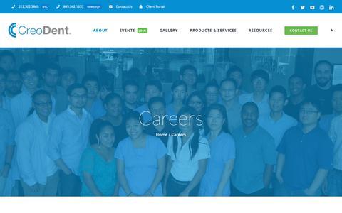Screenshot of Jobs Page creodental.com - Careers – CreoDent - captured Sept. 29, 2018