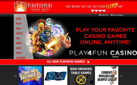 Screenshot of Home Page firekeeperscasino.com - Home  | FireKeepers Casino Hotel - captured Oct. 13, 2017
