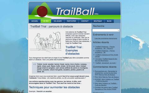 Screenshot of Trial Page trailball.net - TrailBall Trial : Course Balle Obstacle Urbain Nature Cross - captured Dec. 5, 2015