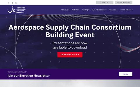 Screenshot of Home Page ati.org.uk - Home - Aerospace Technology Institute - captured Oct. 1, 2018