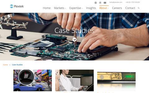 Screenshot of Case Studies Page plextek.com - Case Studies - captured Nov. 10, 2018