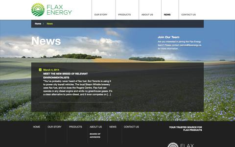 Screenshot of Press Page flaxenergy.ca - News - Flax Energy - captured Sept. 30, 2014