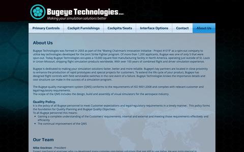 Screenshot of About Page bugeyetech.com - Bugeye Technologies Flight Controls F-16,F-18,F-22,F-35, A-10, UH-60, CH-46, AH-64, cockpits | About Us - captured Oct. 7, 2018