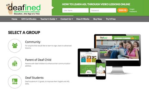Screenshot of Signup Page asldeafined.com - ASL DeafinedASL Deafined | How to Learn ASL through video lessons online - captured May 28, 2017