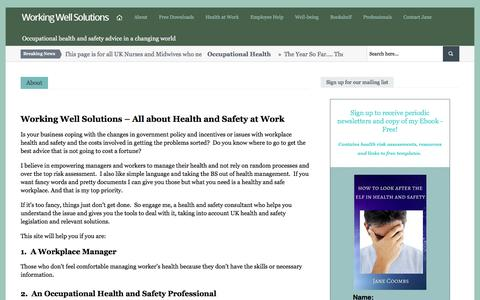 Screenshot of About Page workingwellsolutions.com - occupational health, safety and wellbeing. Jane Coombs - captured Jan. 17, 2017