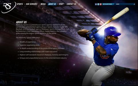 Screenshot of About Page relativitysports.com - About Us    Relativity Sports - captured Oct. 4, 2014