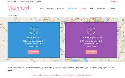 Screenshot of Locations Page gynnow.com - Northern VA OBGYN | Alexandria VA | Woodbridge VA - captured Nov. 29, 2016