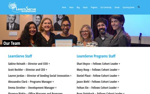 Screenshot of Team Page learn-serve.org - Our Team – LearnServe International - captured Sept. 27, 2018