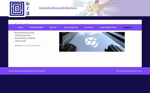 Screenshot of Contact Page businessresearchgroup.net - Contact Us � Business Research Group - captured Jan. 7, 2016
