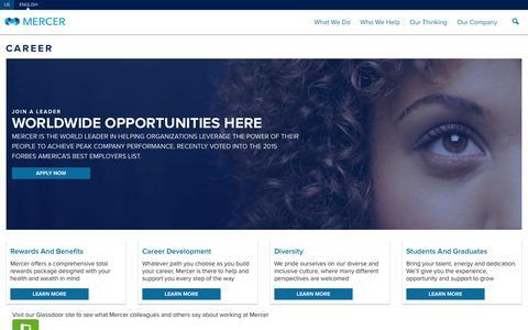 Screenshot of Jobs Page mercer.us - Careers - Mercer Global - captured Feb. 13, 2016